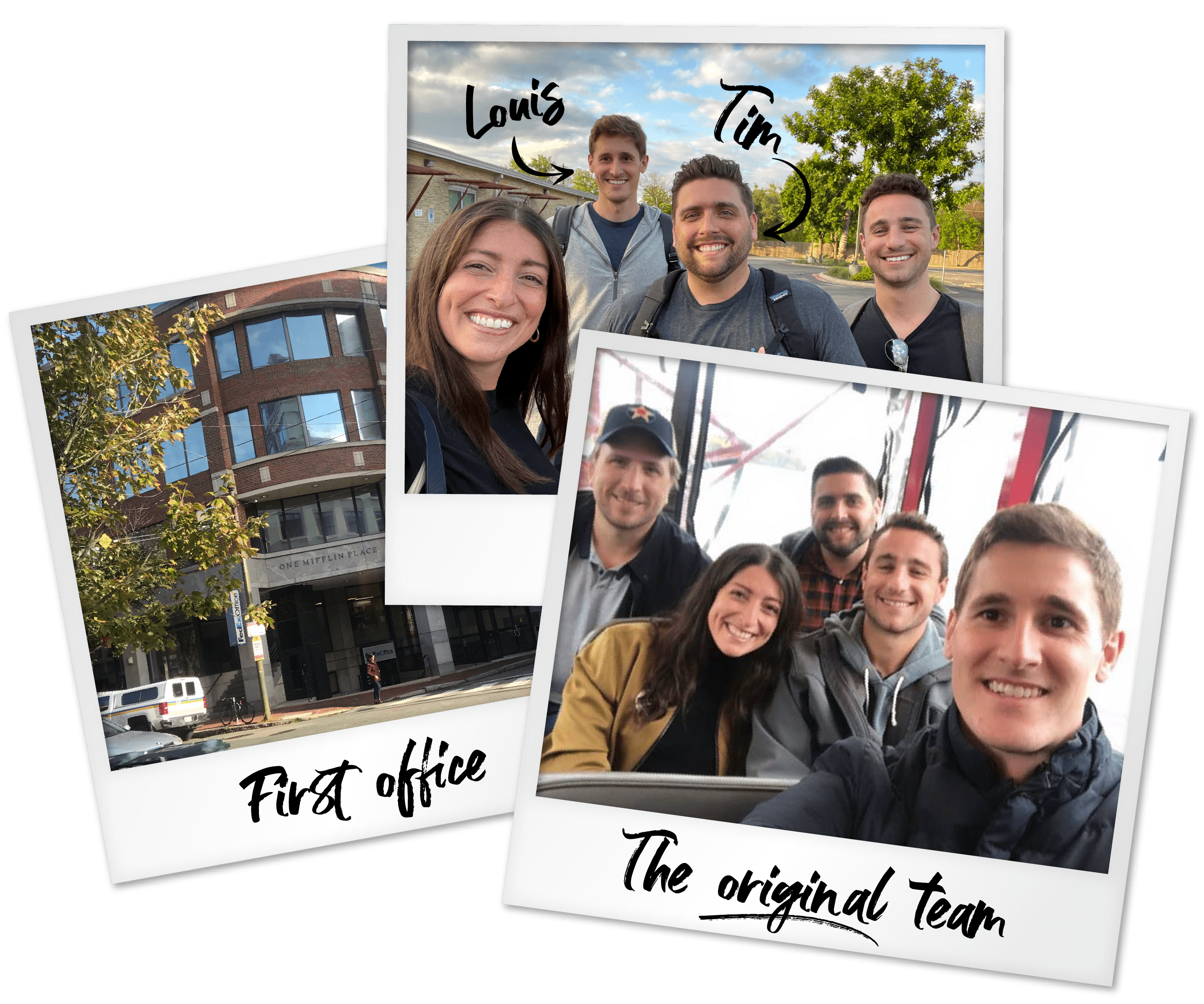 Polaroid photos of the first UpEquity office and original team
